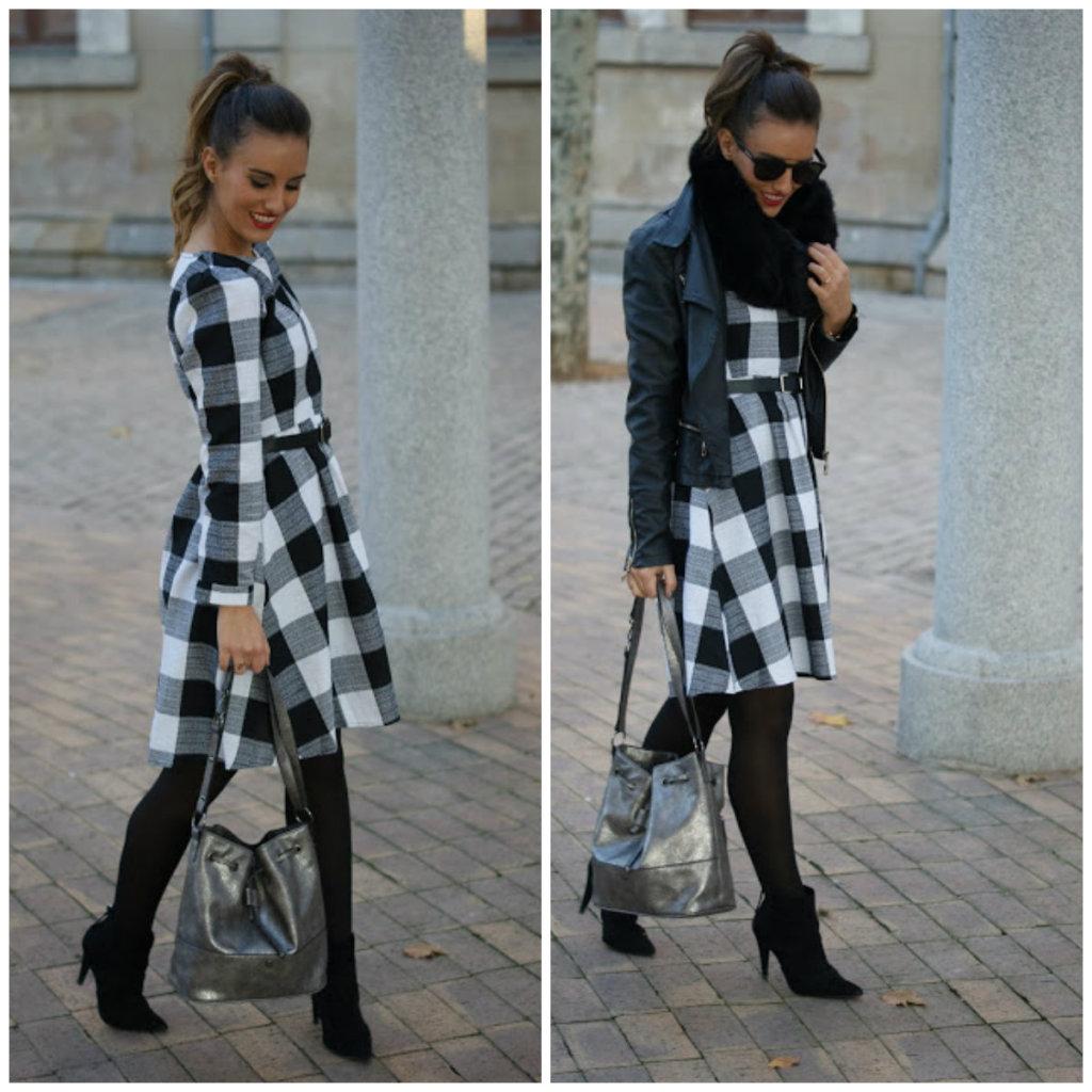 dare to dream vestido cuadros blanco negro perfecto cuero negro bolso saco bombonera metalizado bucket bag paco martinez